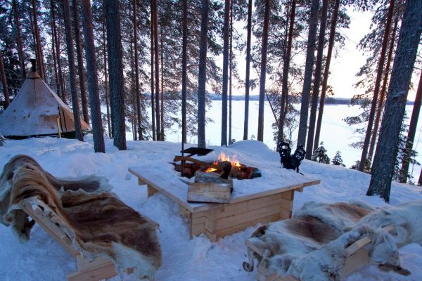 fireplace aurora safari camp swedish lapland