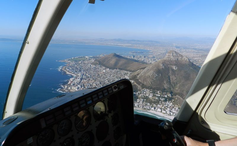 south africa cape town helicopter view from cockpit