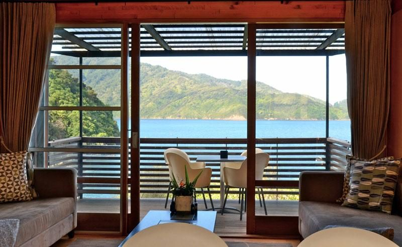 bay of many coves resort marlborough sounds new zealand bedroom view