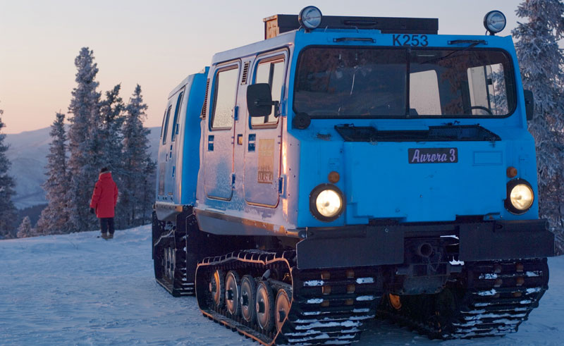 alaska chena snow coach sunset
