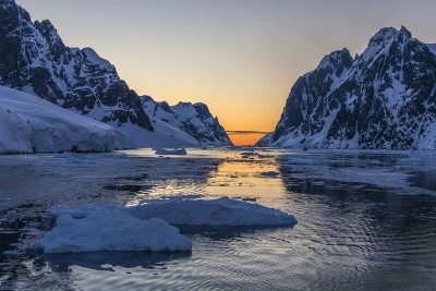 antarctic peninsula lemaire channel low light istock