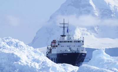 antarctica ortelius ship sailing through icy waters