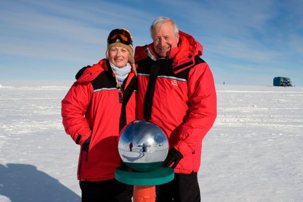antarctica south pole marker couple ani