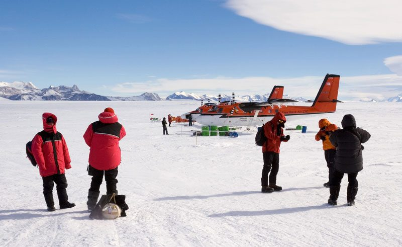 antarctica south pole twin otter and passengers ani