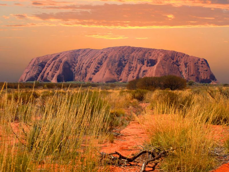 australia northern territory uluru at sunset ws