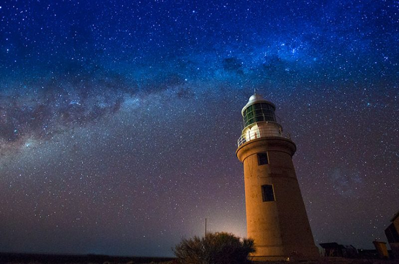 australia wa exmouth vlamingh head lighthouse starry sky