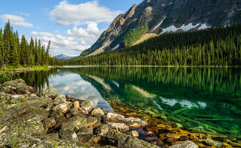 canada alberta banff reflection boom lake istock