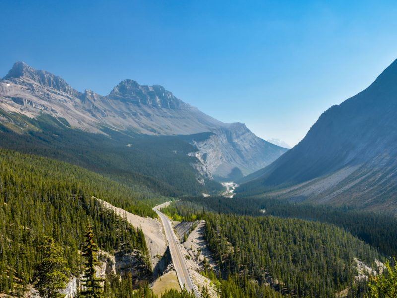 canada alberta icefields parkway aerial view istk