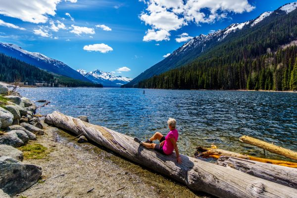 canada british columbia duffey lake resting hiker adstk