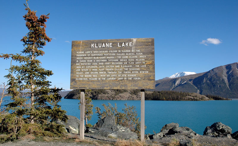 canada yukon kluane lake sign istk