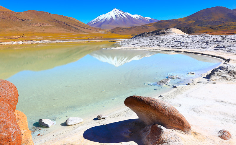 chile atacama lagoon and miniques is