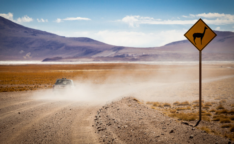 chile atacama road sign is