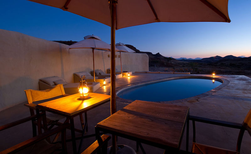 damaraland camp night time pool view