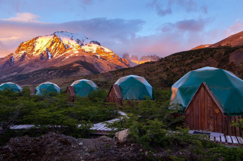 eco camp patagonia standard domes sunrise