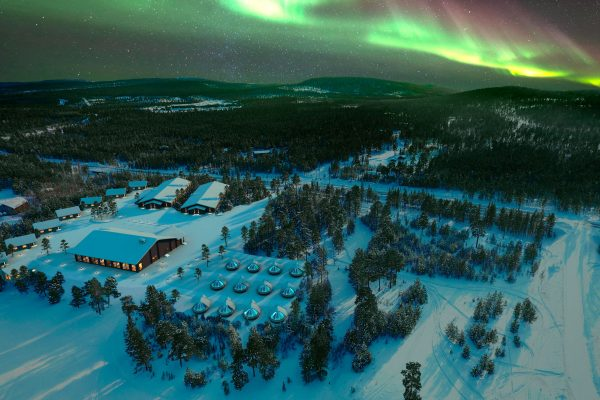 finland lapland aurora over wilderness hotel inari