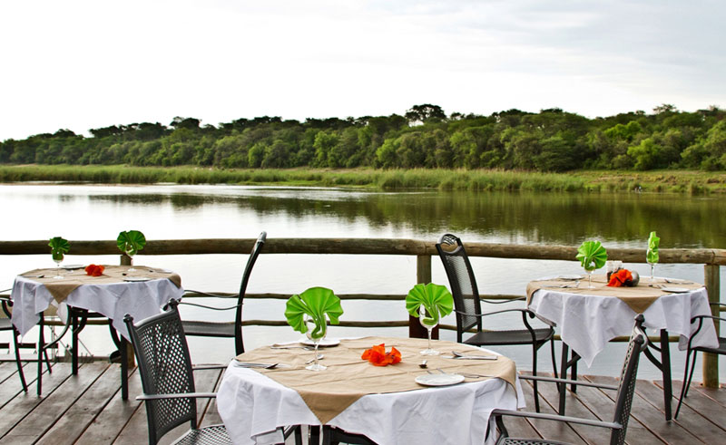 hakusembe river lodge dining and view