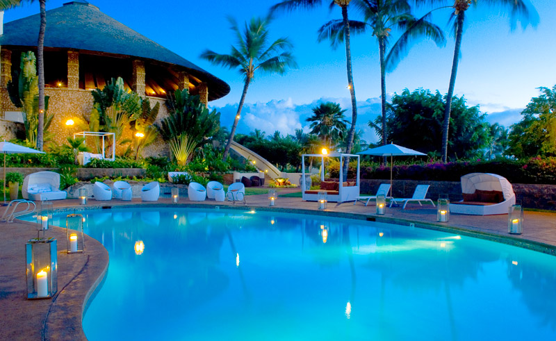hawaii maui hotel wailea pool evening