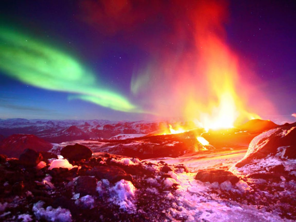 iceland aurora and volcano fimmvorduhals eruption ja