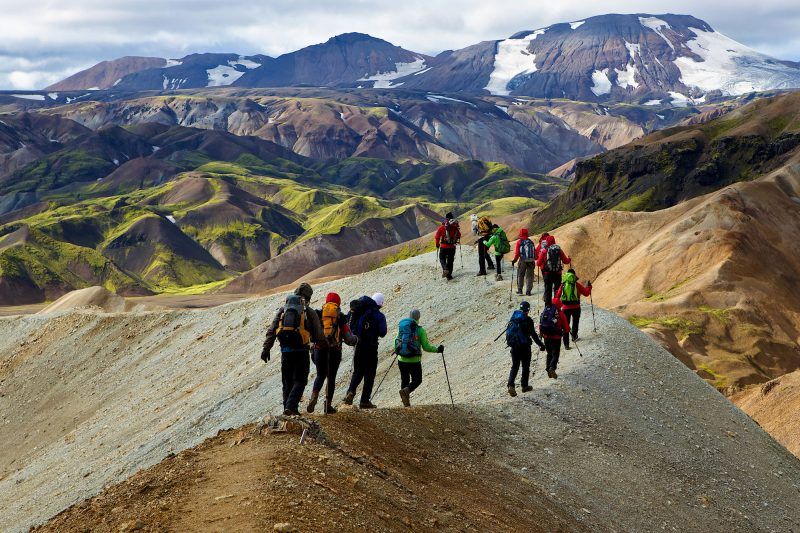 iceland highlands landmannalaugar hikers adstk