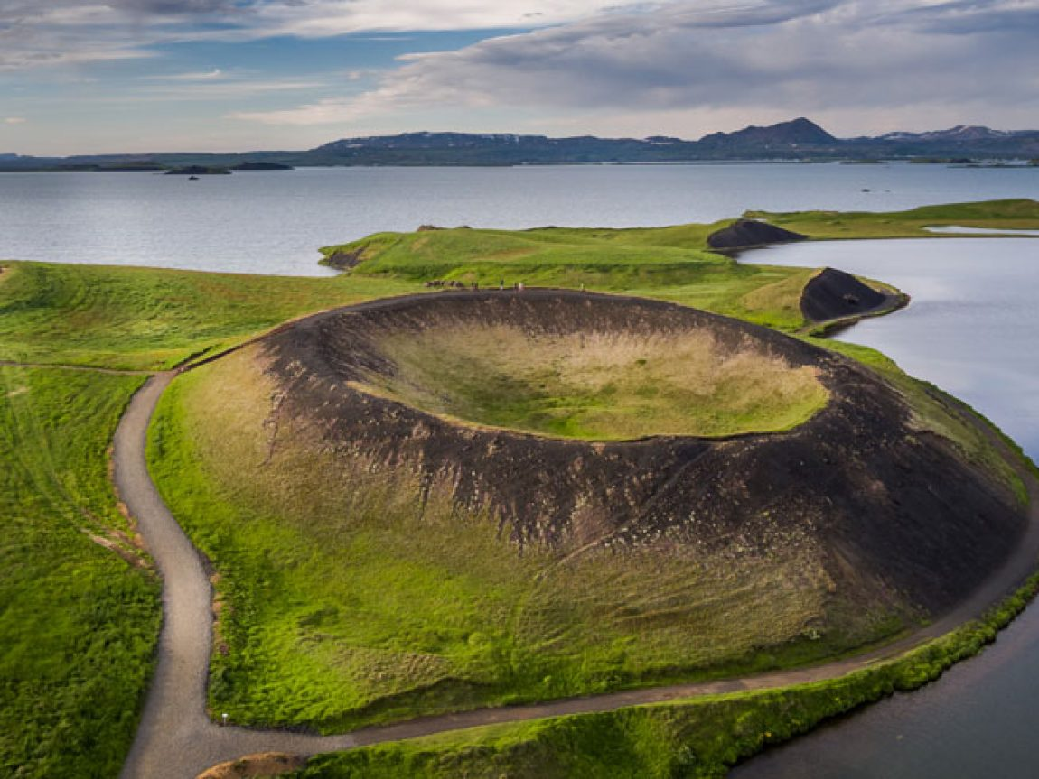 iceland lake myvatn pseudo crater aerial rth