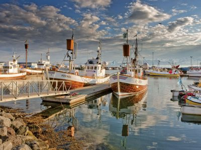 iceland north east husavik harbour boats rth