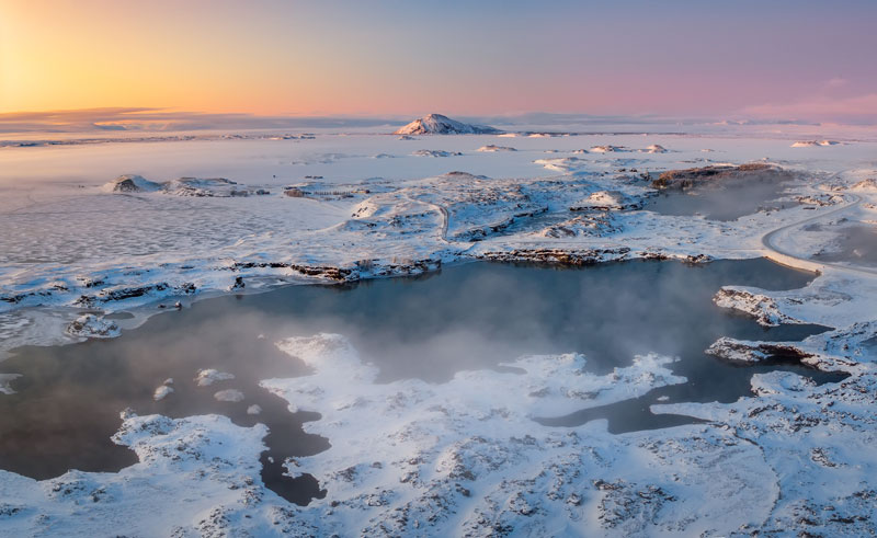 iceland north east lake myvatn frozen landscape rth