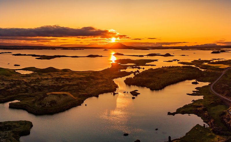iceland north east myvatn kalfastrond sunset rth