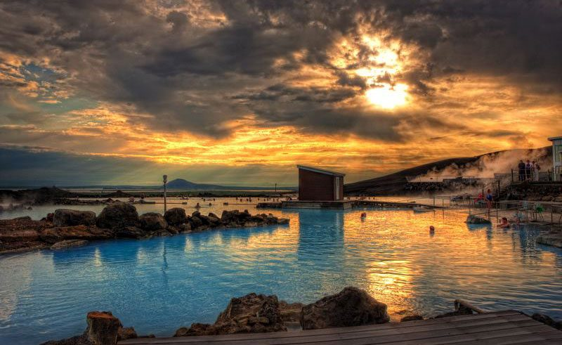 iceland north east myvatn nature baths evening rth