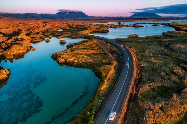 iceland north east myvatn road at sunset rth