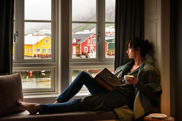 iceland north siglufjordur relaxing at hotel siglo