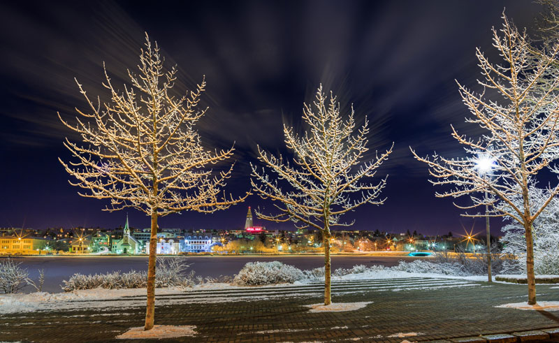 iceland reykjavik city lights winter rth