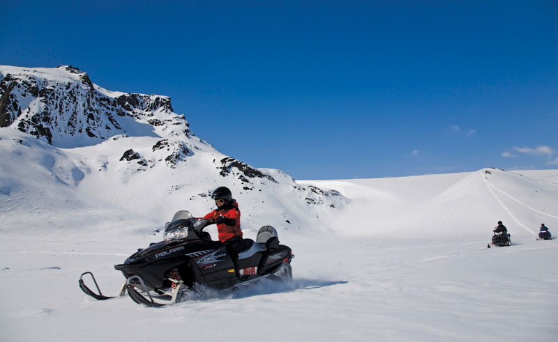 iceland snowmobiling on glacier