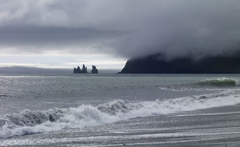 iceland south coast reynisdrangar sea stacks