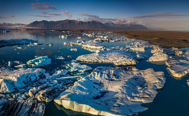iceland south east jokulsarlon drone view rth