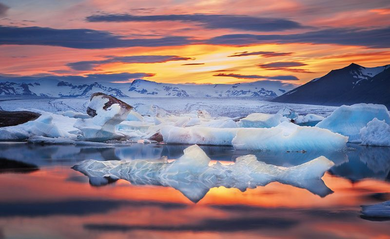 iceland south east jokulsarlon winter sun ss