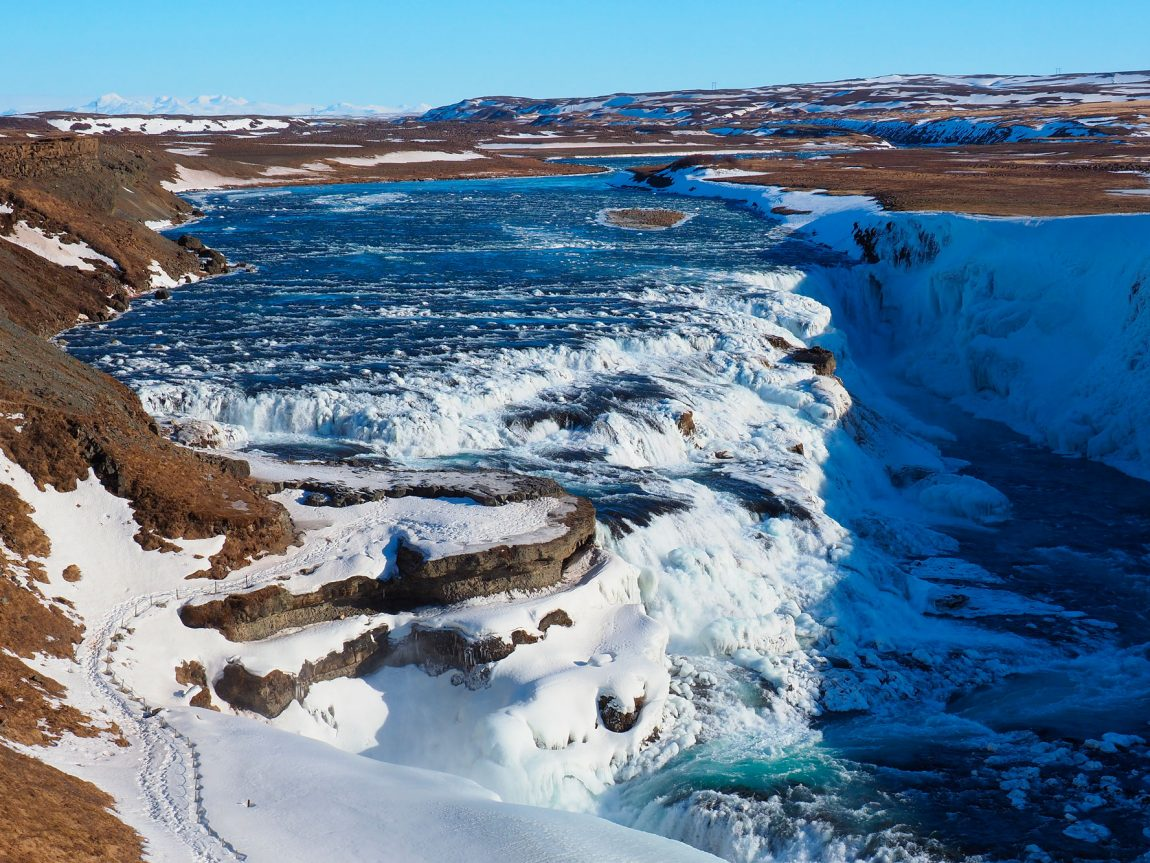 iceland south west gullfoss aerial winter pixa