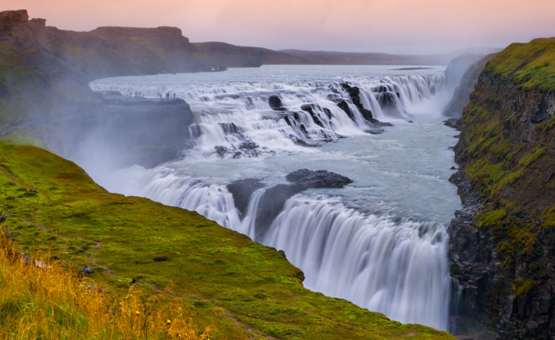 iceland south west gullfoss dusk is