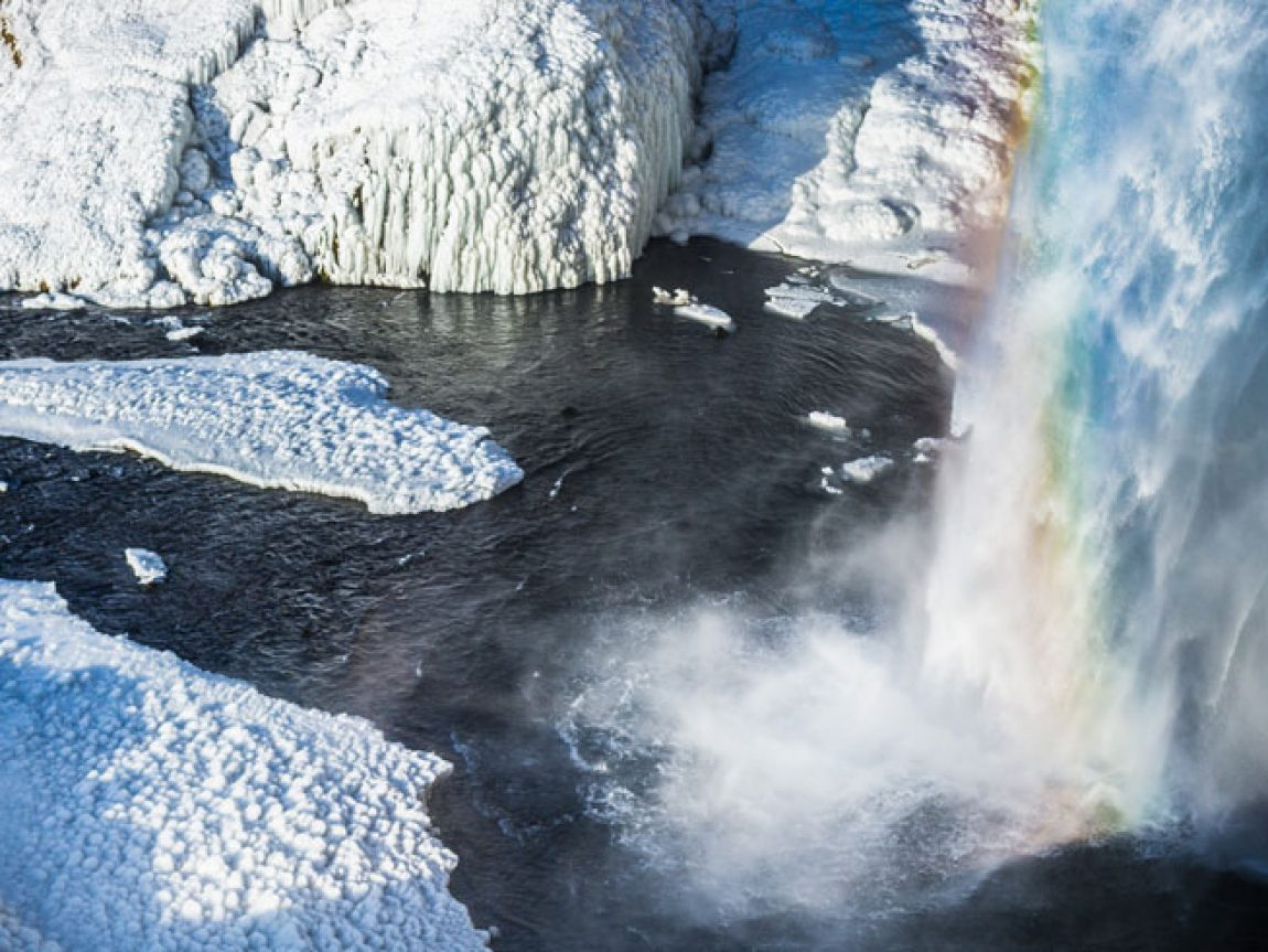 iceland south west seljalandsfoss winter rainbow rth