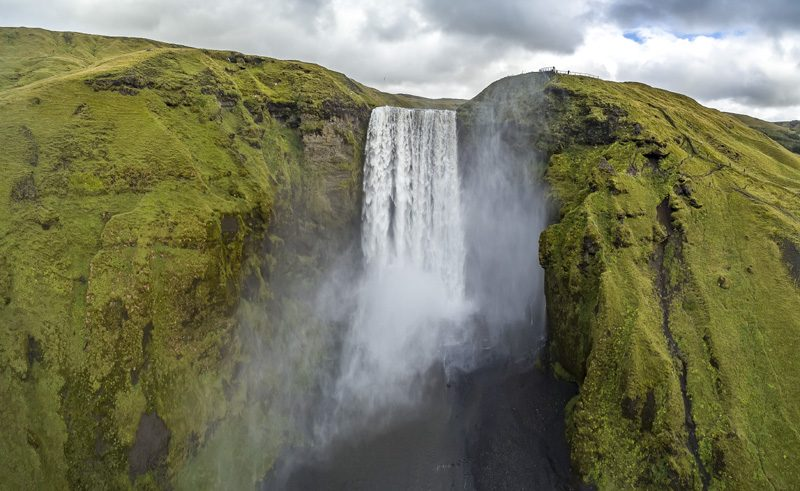 iceland south west skogafoss waterfall aerial rth