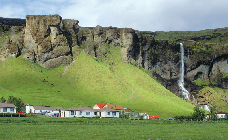 iceland southern countryside village waterfall rth