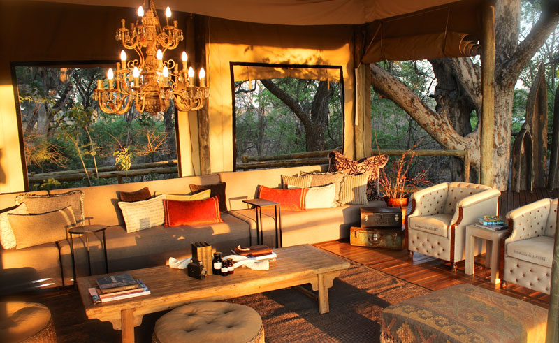 nambwa tented lodge sitting area