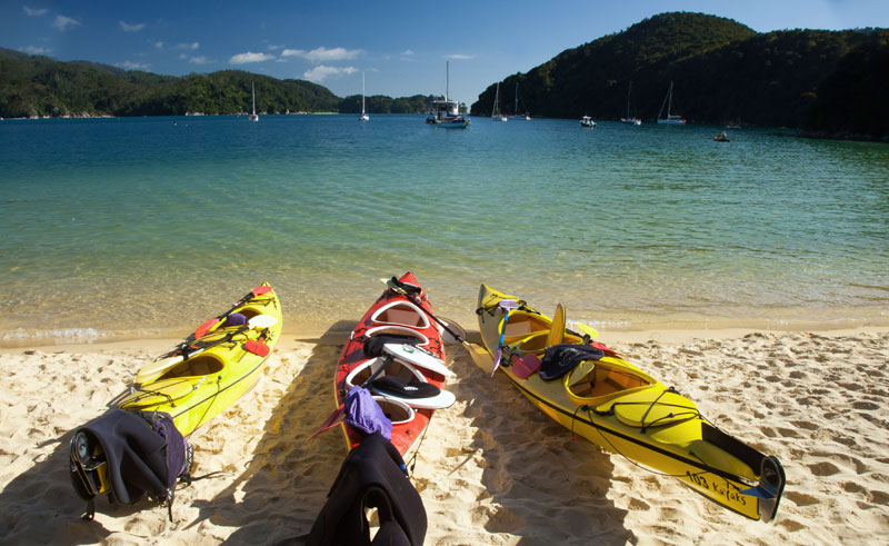 new zealand abel tasman kayaks on beach ga