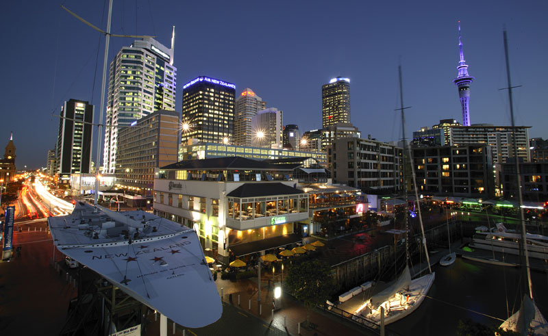new zealand auckland viaduct harbour night ta