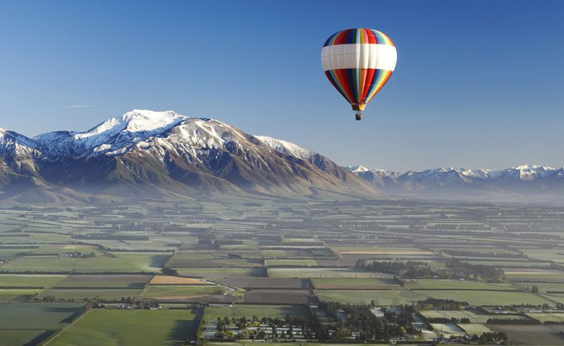 new zealand canterbury plains hot air balloon tnz