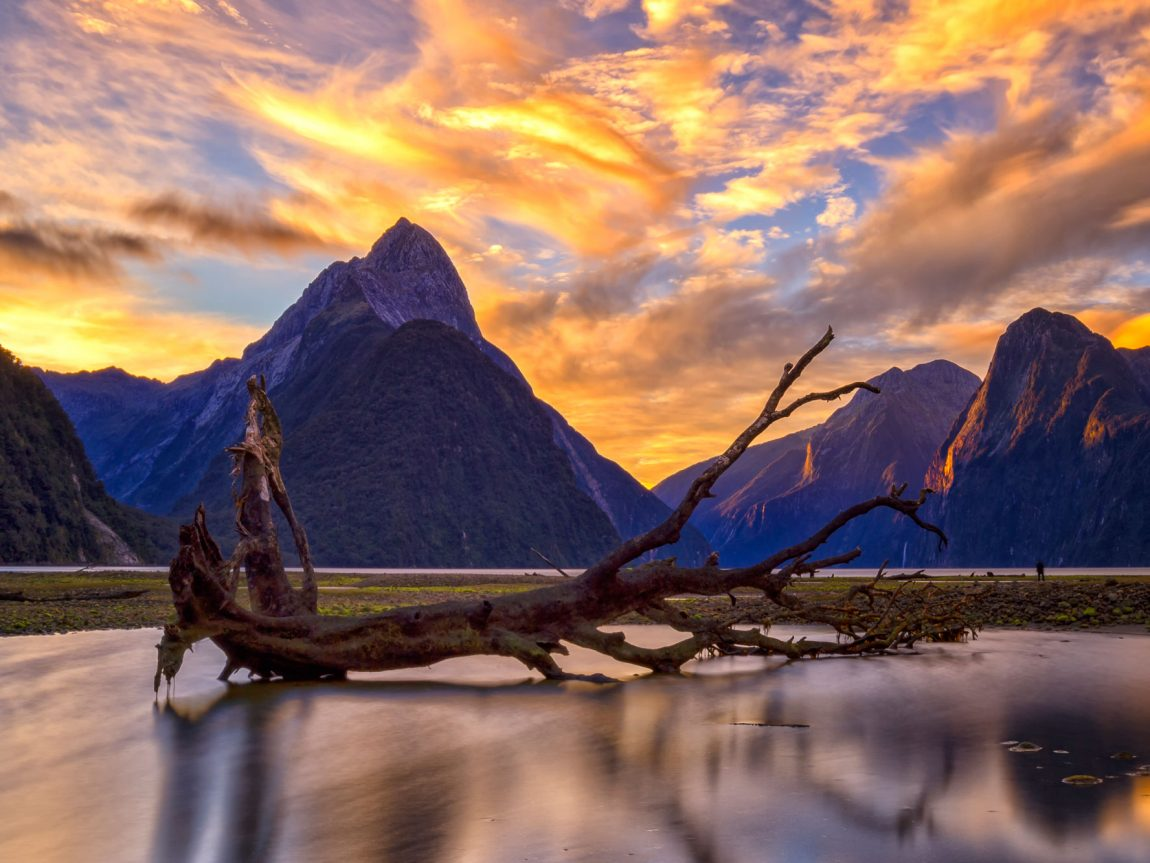 new zealand fiordland milford sound sunset adstk