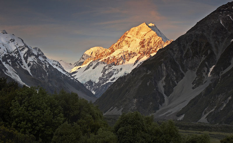 new zealand mt cook sunlit aoraki amc