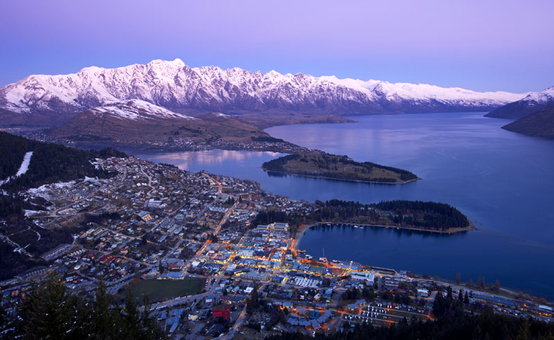 new zealand queenstown winter aerial dusk