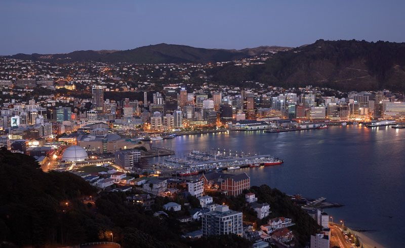 new zealand wellington from mt victoria evening tnz