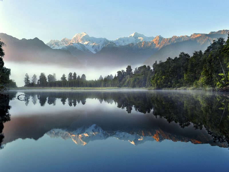 new zealand west coast lake matheson misty morning sstk