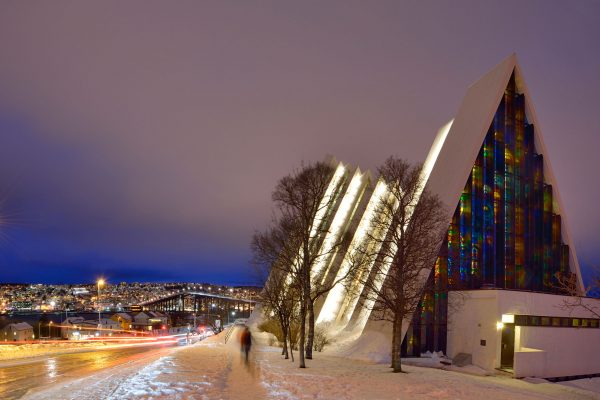 northern norway tromso arctic cathedral night adst